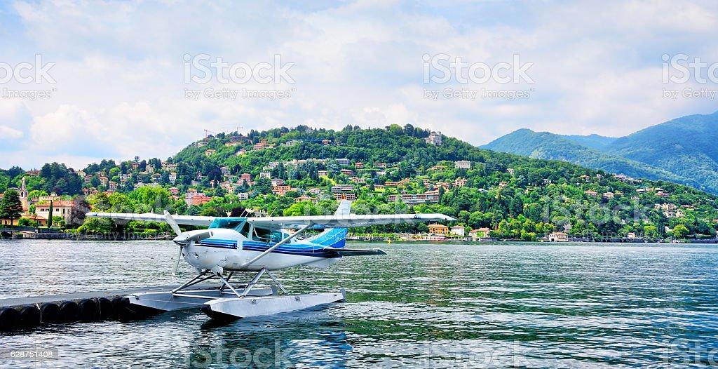 Seaplane on a Lake Como, Italy stock photo