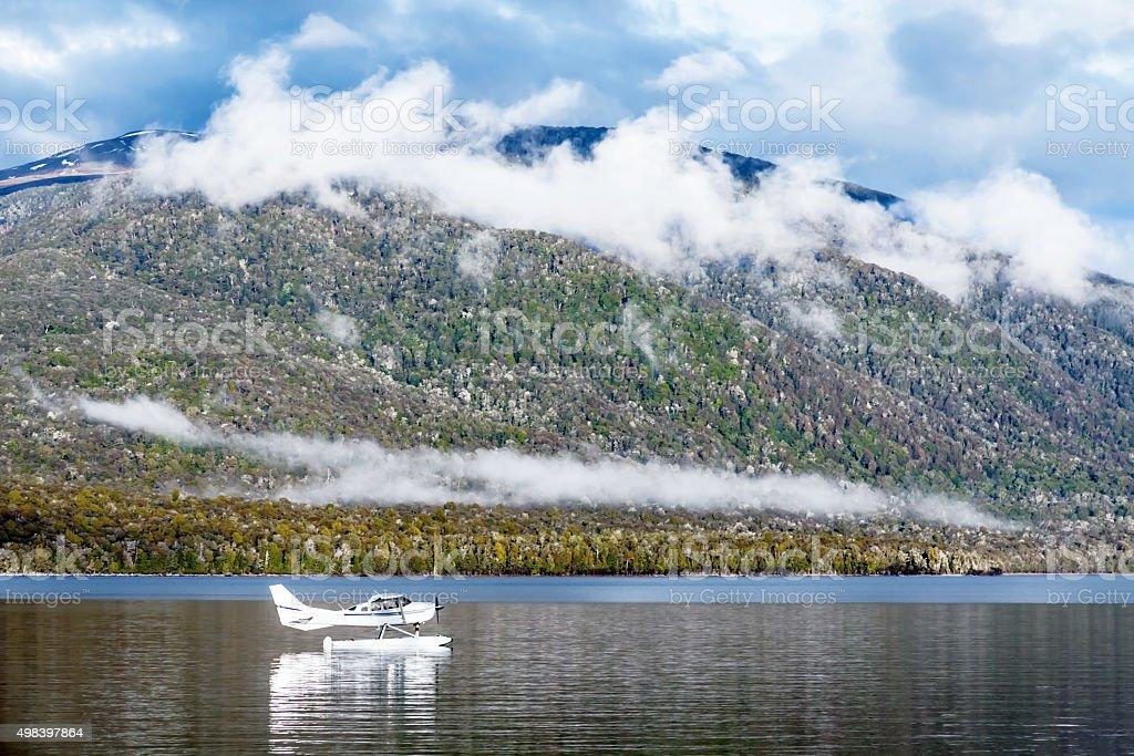 Seaplane on Lake Te Anau stock photo