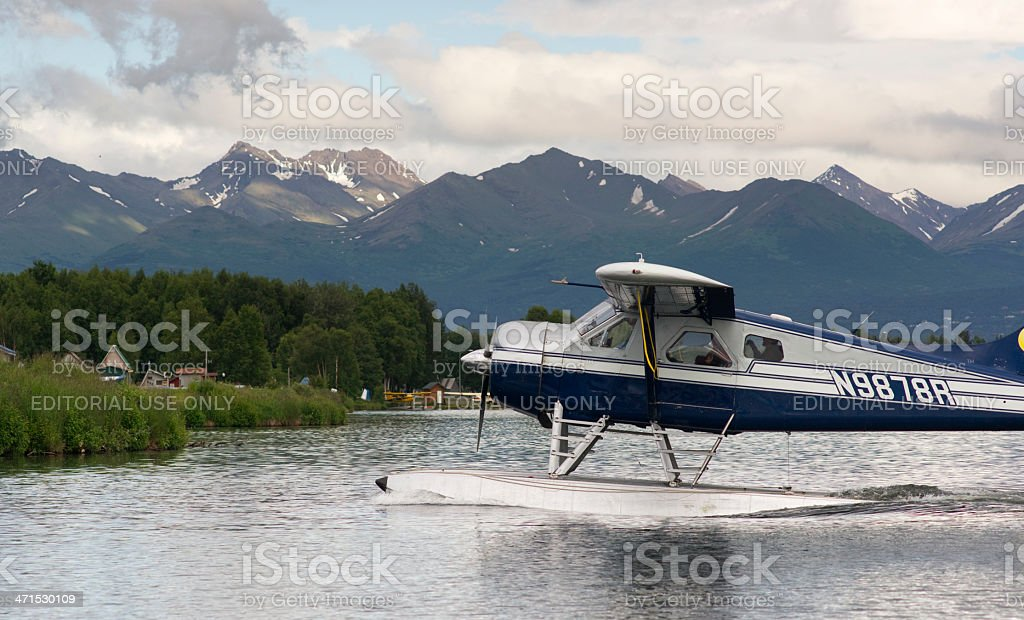 Seaplane Taxis into Lake Hood Ted Stevens National Airport Anchorage stock photo