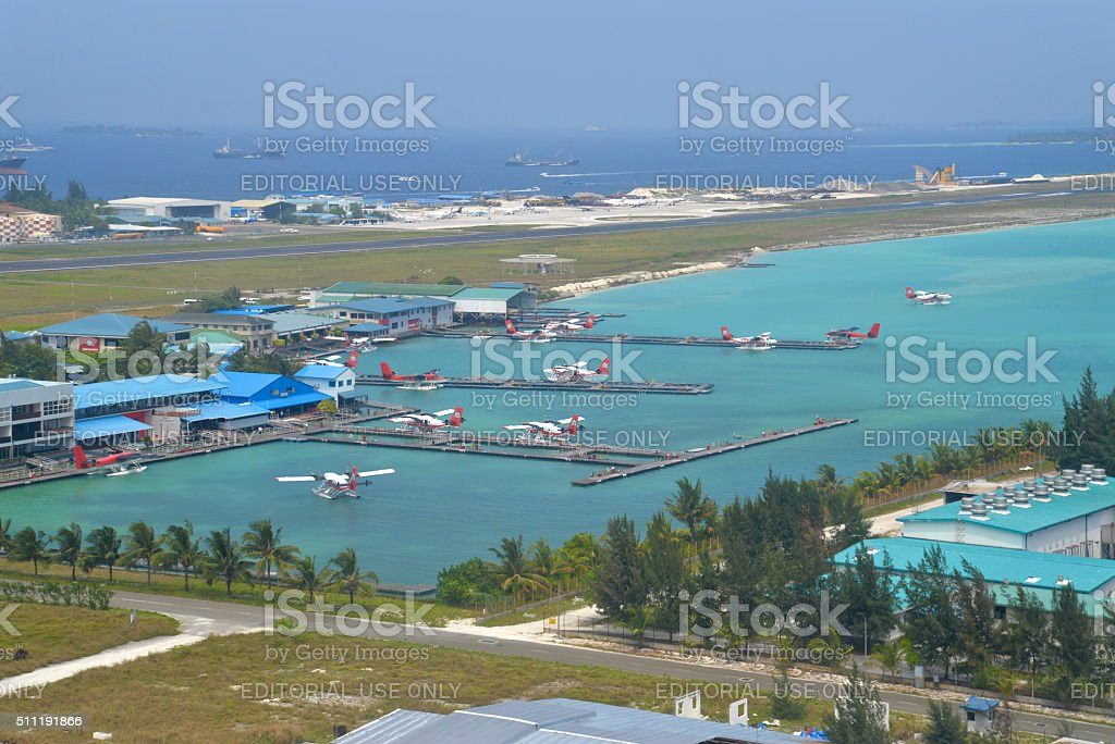 Seaplane terminal, Male, Maldives stock photo