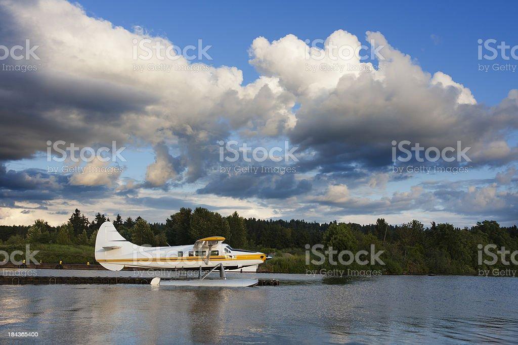 Seaplane Waits for Evening Flight stock photo