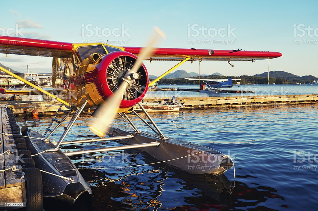 Seaplane Warming Up stock photo