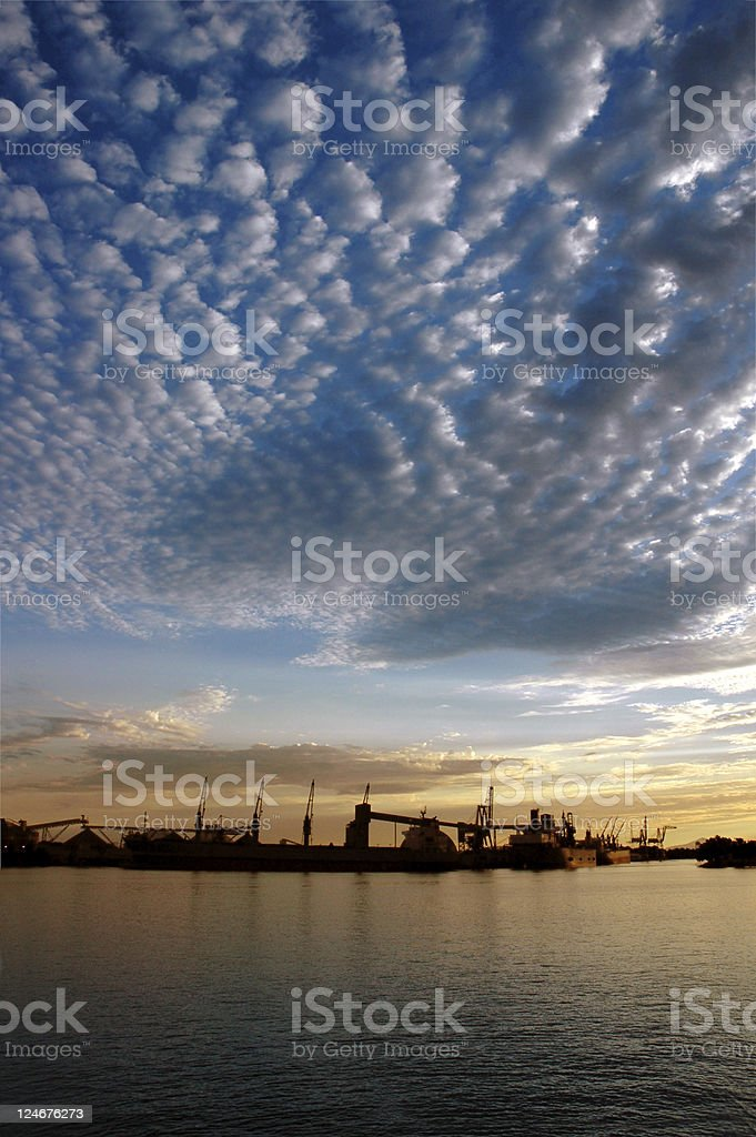 Seaport and Sky At Sunset royalty-free stock photo