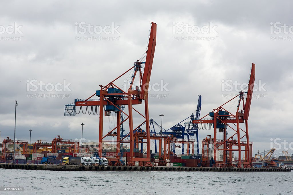 Seaport in Istanbul stock photo