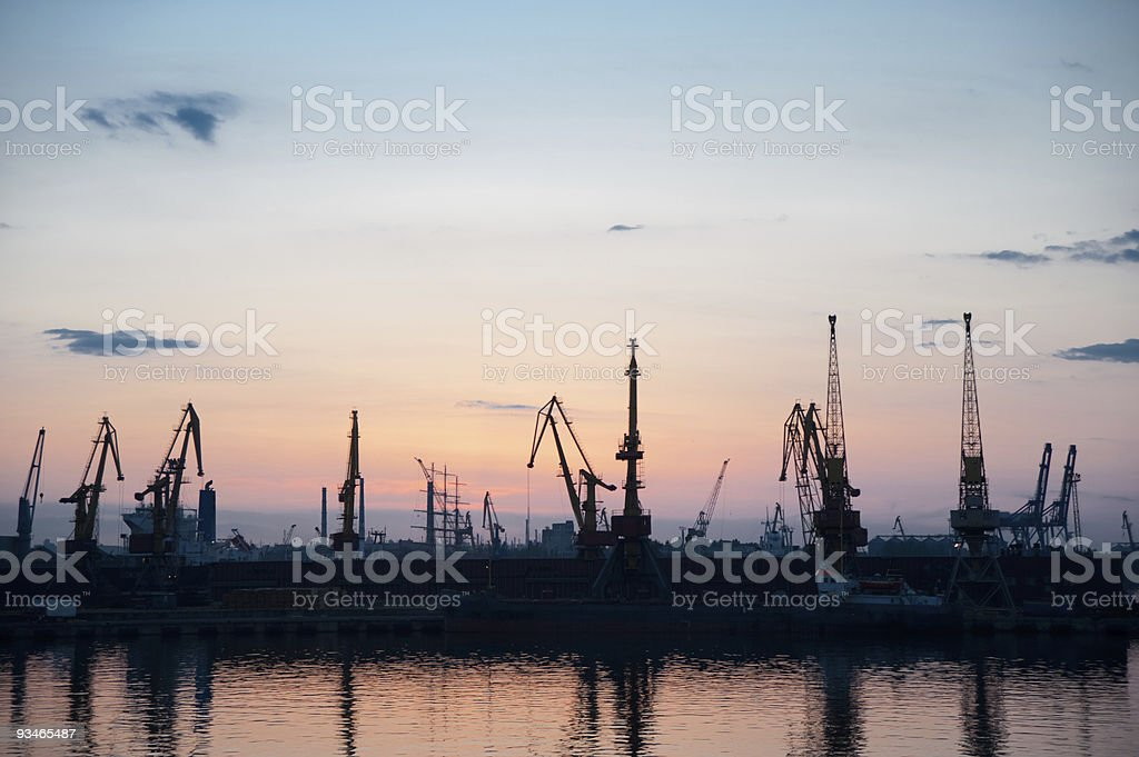 Seaport night time royalty-free stock photo