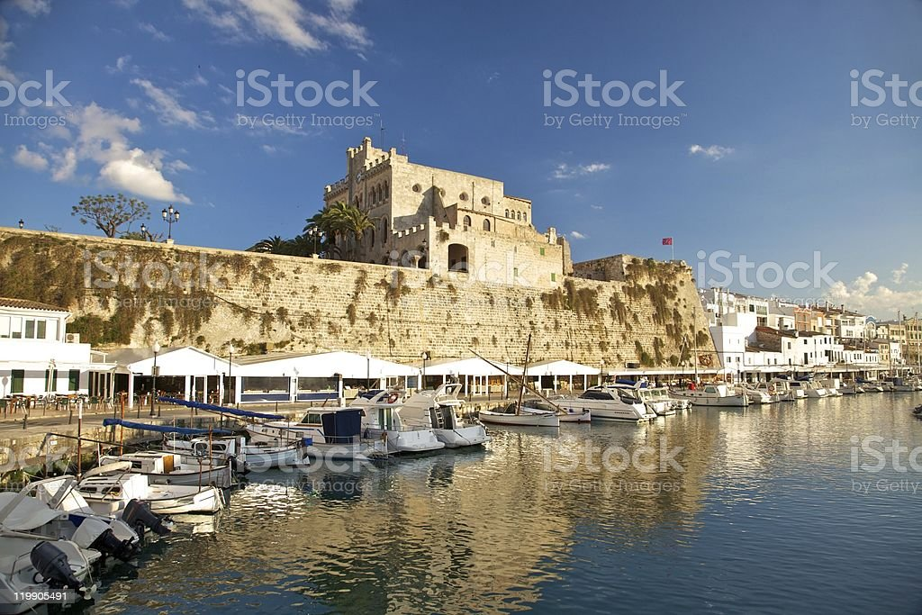 Seaport of Ciutadella stock photo