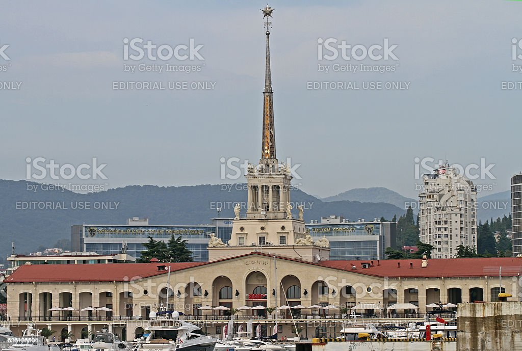 Seaport of Sochi, view from the sea stock photo