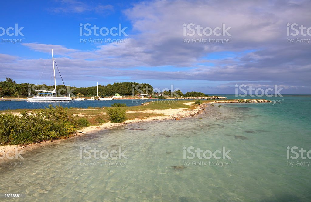 Seaport on Cayo Guillermo. stock photo