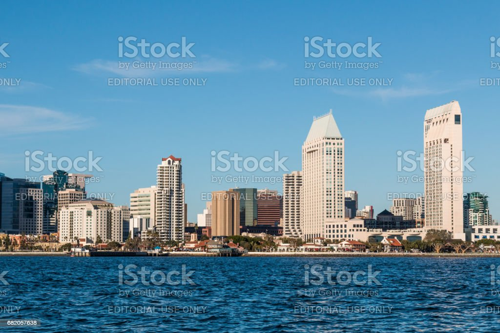 Seaport Village, Waterfront Hotels and Downtown San Diego stock photo