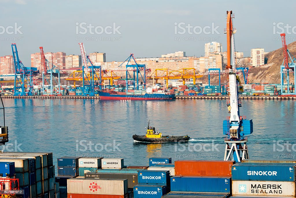 Seaport Vladivostok, Russia stock photo