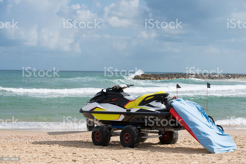 Search and Rescue (SAR) watercraft for beach lifeguard. stock photo