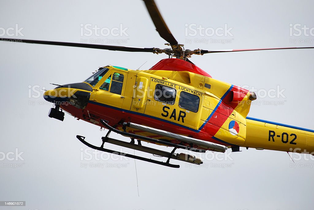 Search and resque helicopter stock photo