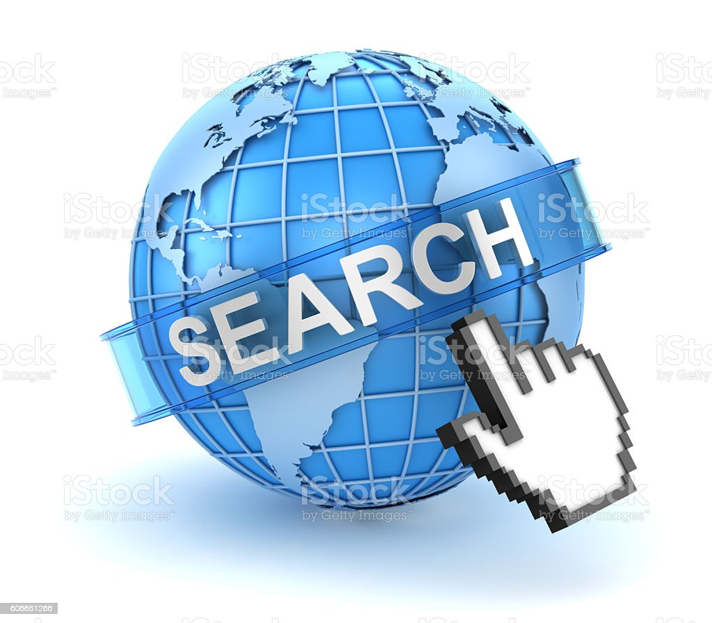 Search concept with world and hand cursor stock photo