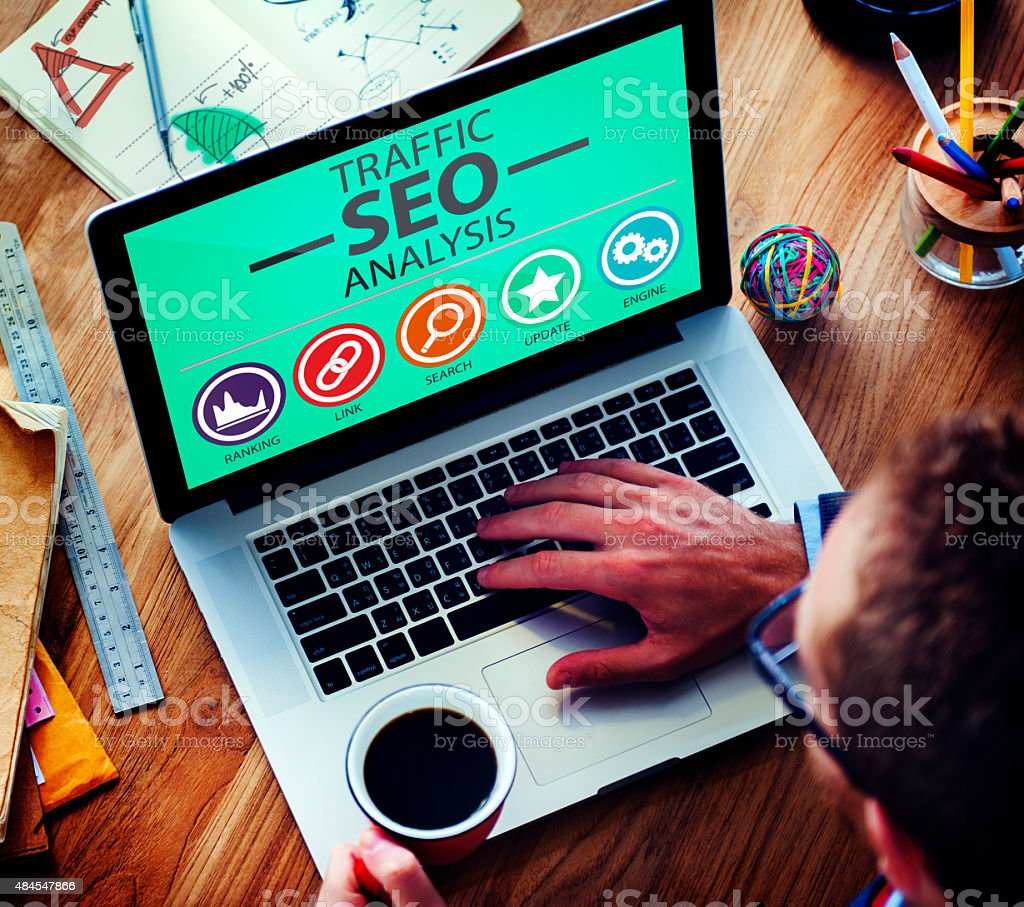 Search Engine Optimisation Analysis Information Data Concept stock photo