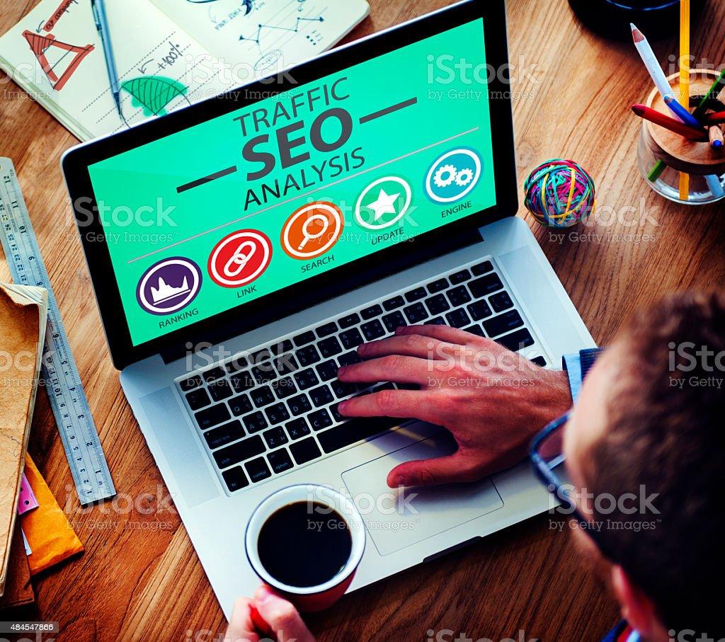 Search Engine Optimisation Analysis Information Data Concept stock photo