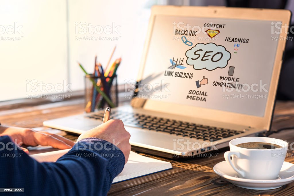 Search Engine Optimization (SEO) Concept On Computer Screen stock photo