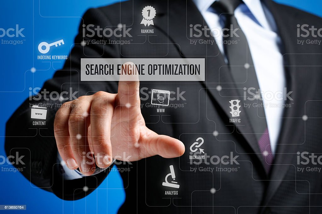Search Engine Optimization Concept on Interface Touch Screen stock photo