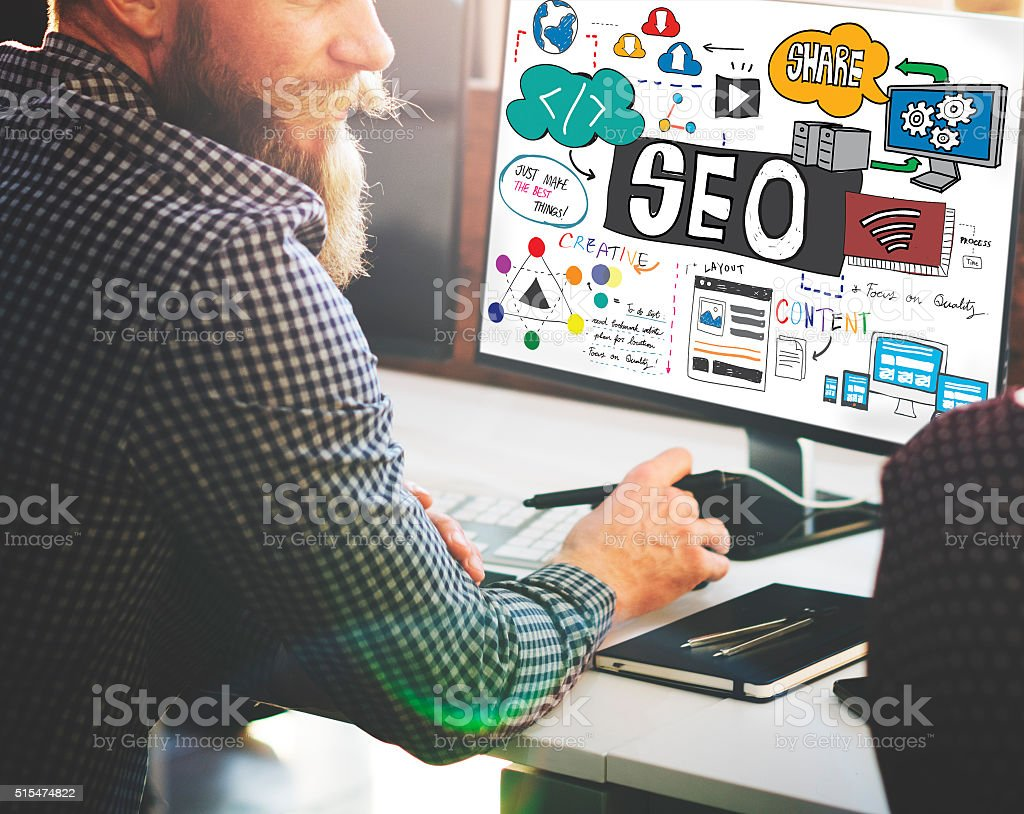 SEO Search Engine Optimization Internet Digital Concept stock photo