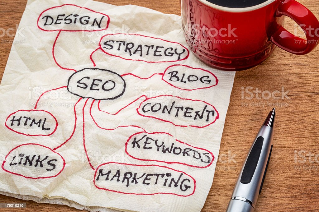 SEO - search engine optimization mindmap stock photo