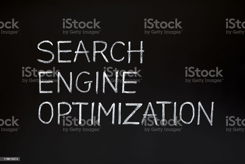 Search Engine Optimization on blackboard royalty-free stock photo