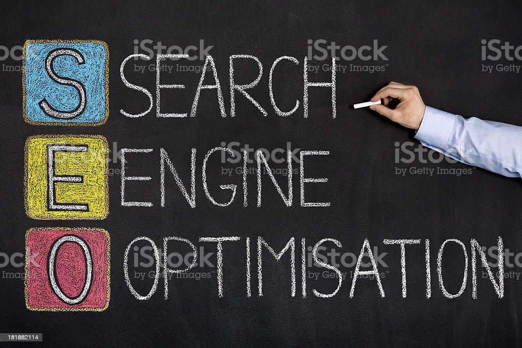 Search engine optimization on chalkboard royalty-free stock photo