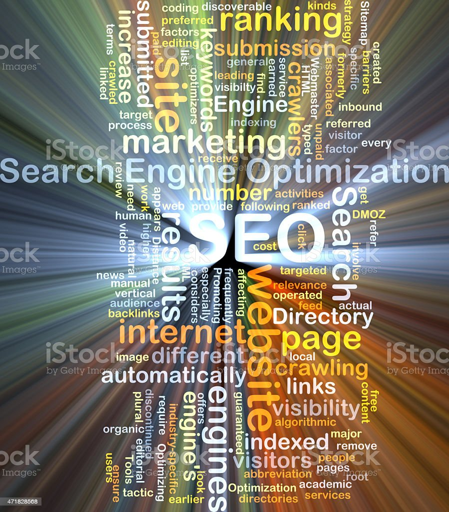 Search engine optimization SEO background concept glowing stock photo