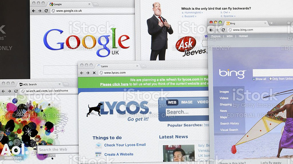 Search engine websites stock photo