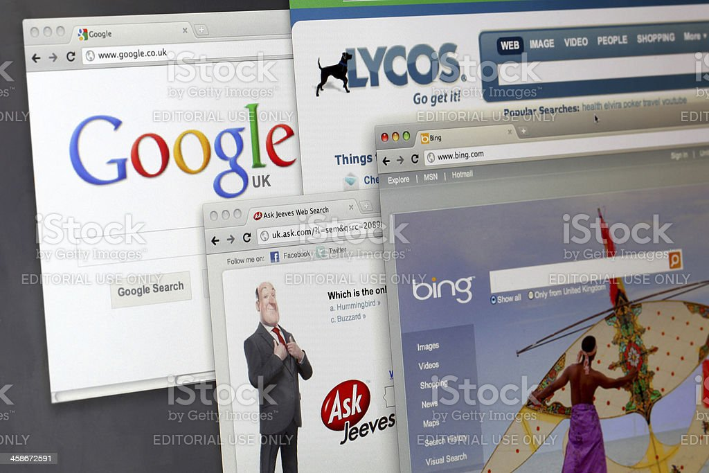 Search engine websites royalty-free stock photo