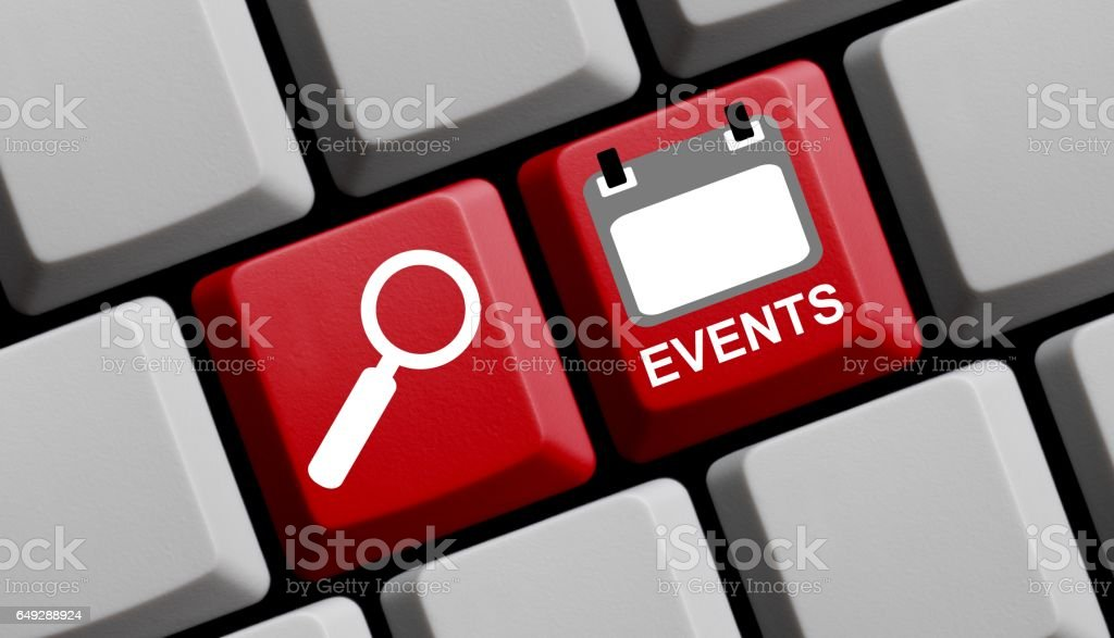 Search for Events online - Computer Keyboard stock photo