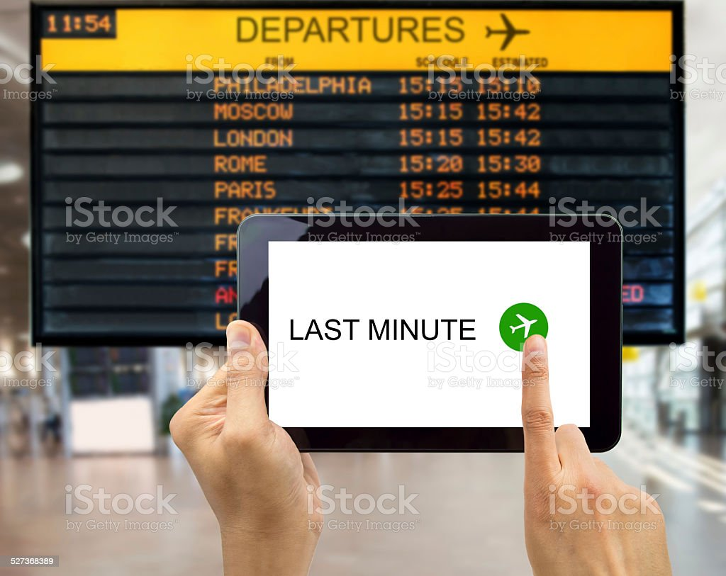 search for last minute deals stock photo