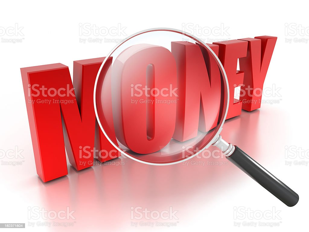 Search for MONEY concept with magnifying glass, isolated on white royalty-free stock photo