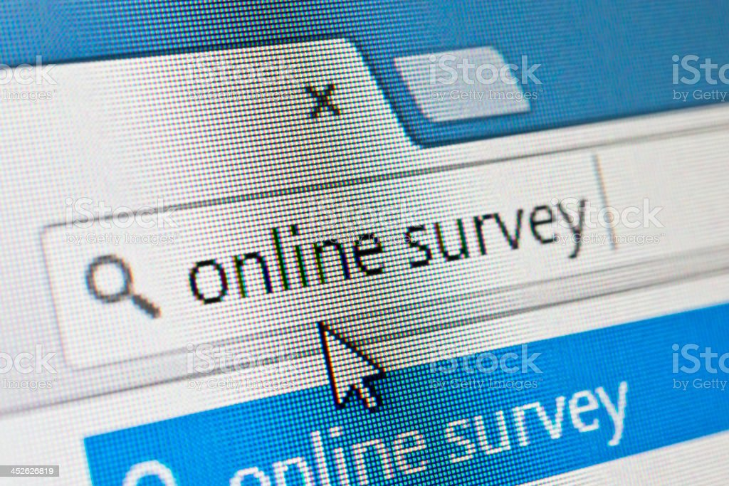Search for online survey stock photo