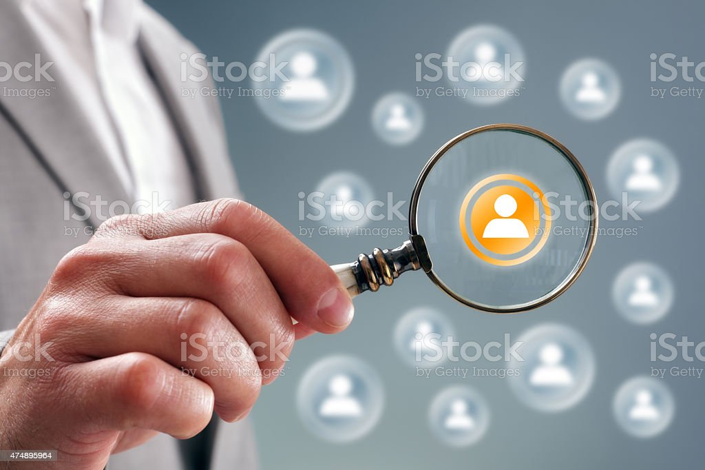 Search for team personnel or contacts stock photo