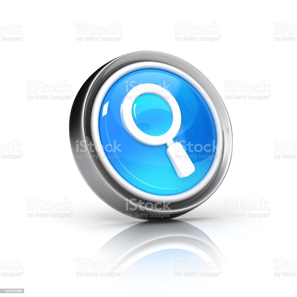 3D search icon with magnifier inside stock photo