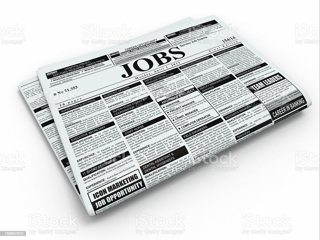 Search job. Newspaper with advertisments. royalty-free stock photo