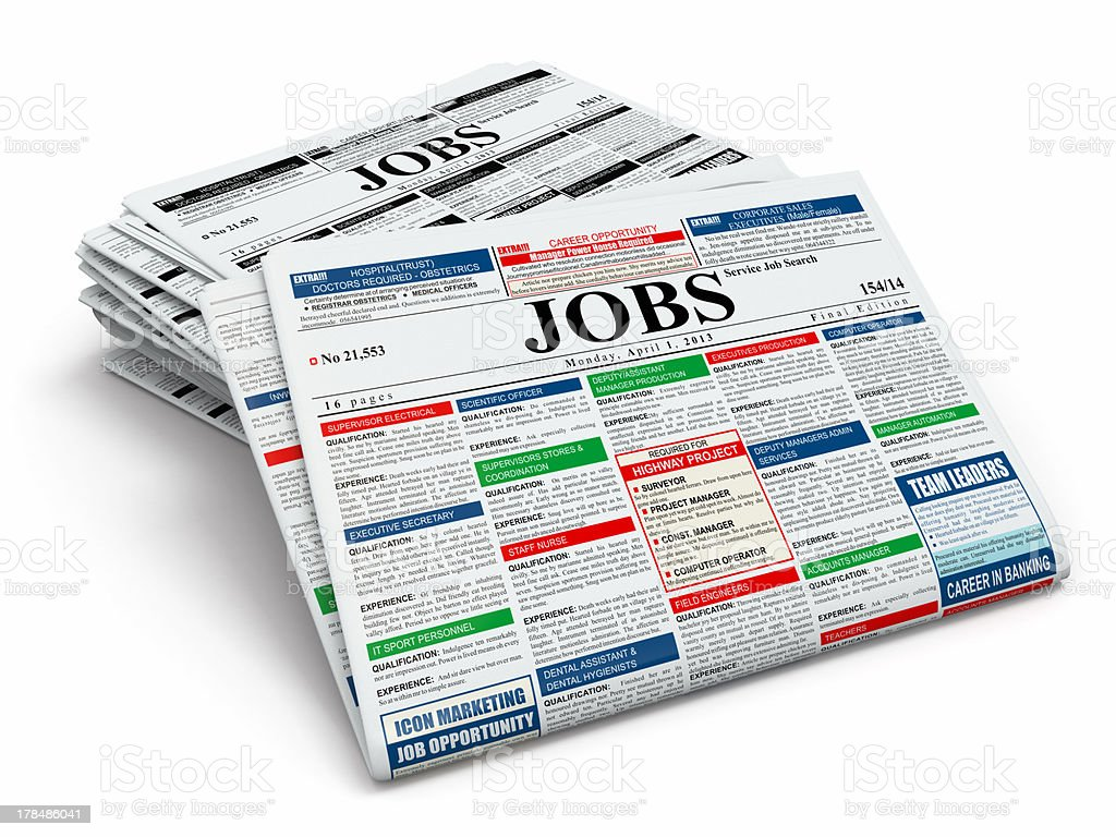 Search job. Newspapers with advertisments. stock photo