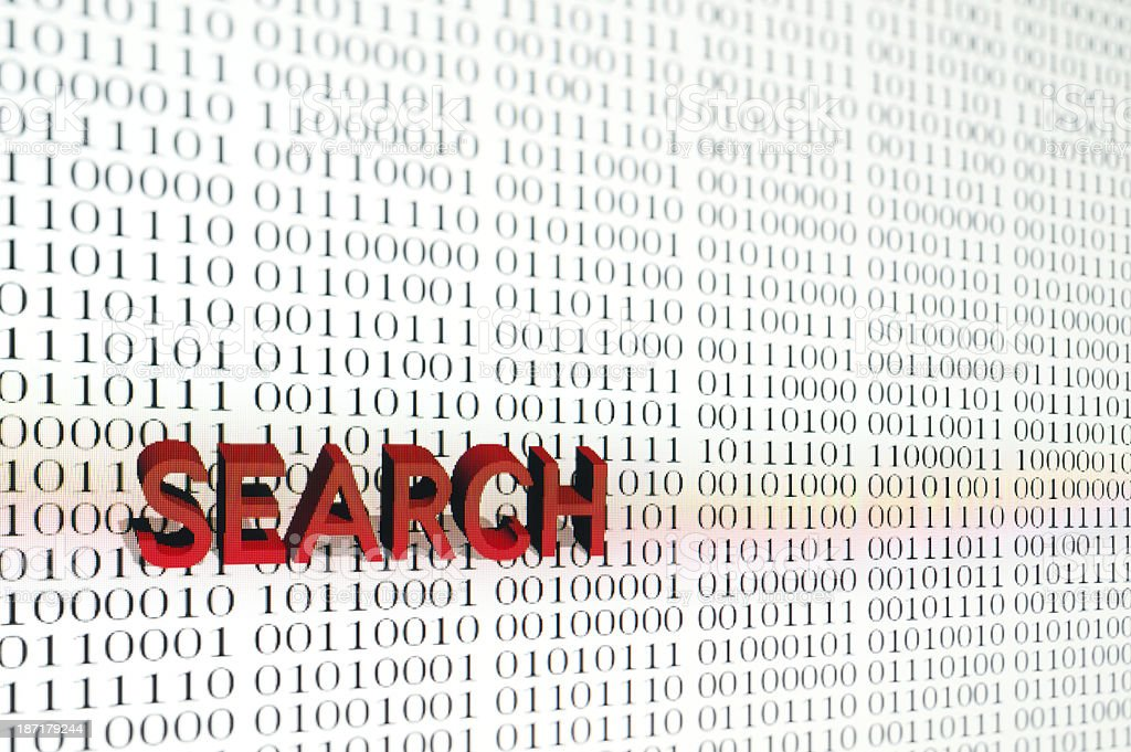 Search on computer screen with binary code stock photo