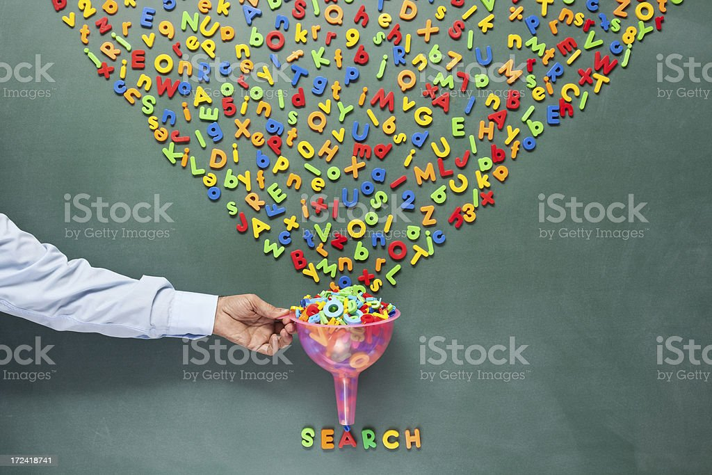 Searching and filtering words on blackboard for SEO concept royalty-free stock photo