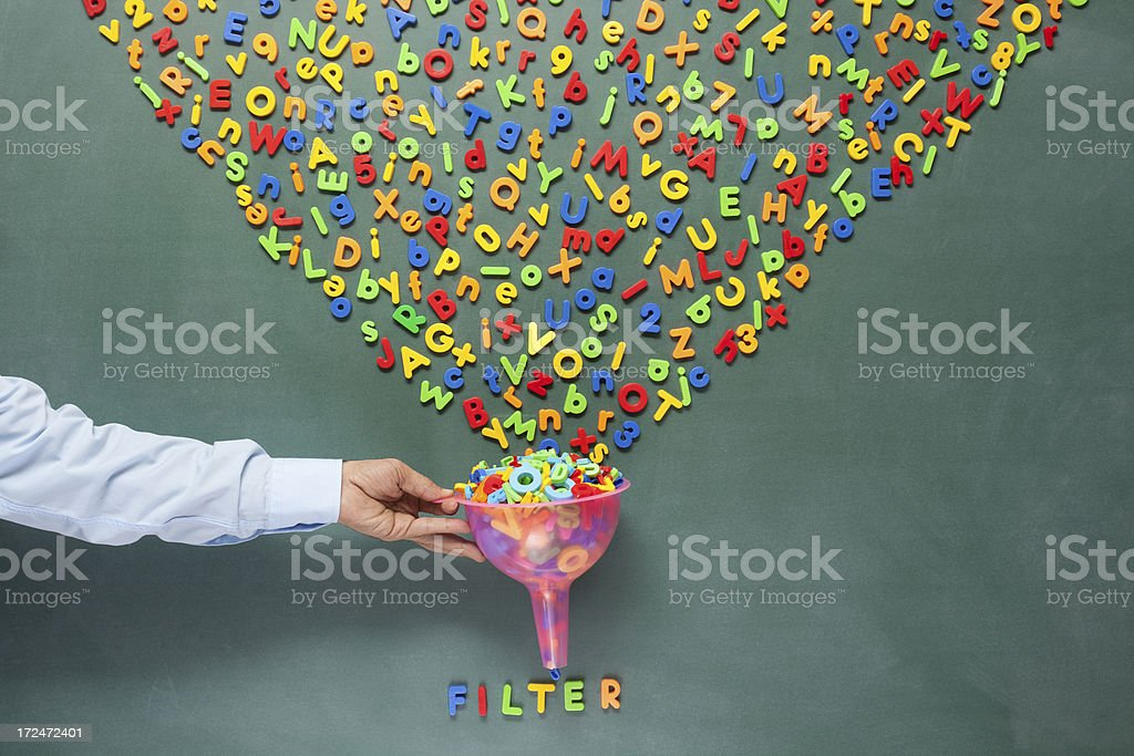 Searching and filtering words on blackboard for seo concept stock photo