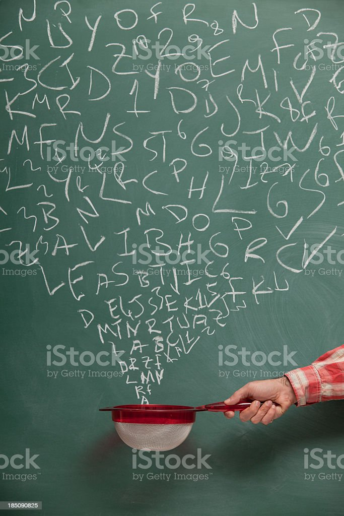 Searching And Filtering Words On Blackboard Via Strainer stock photo