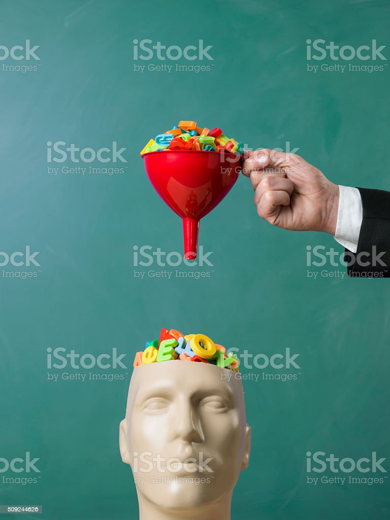 Searching and filtering words on plastic mannequin head stock photo