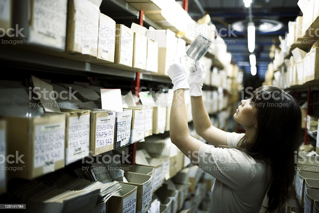 Searching archives. stock photo