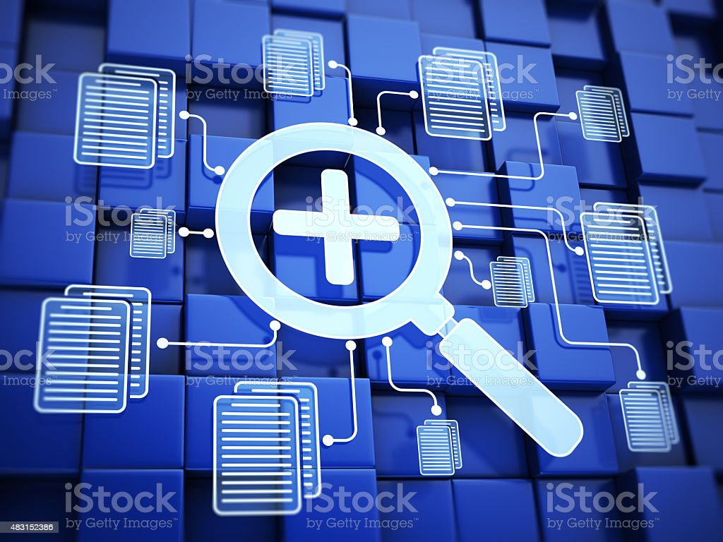 Searching files and documents stock photo