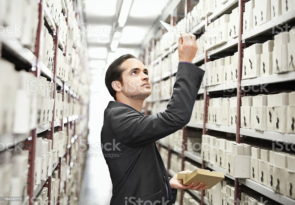 searching files in a archive stock photo