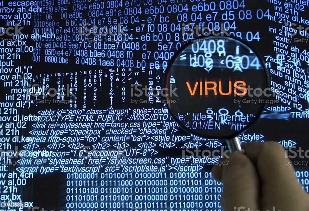 Searching for computer virus stock photo