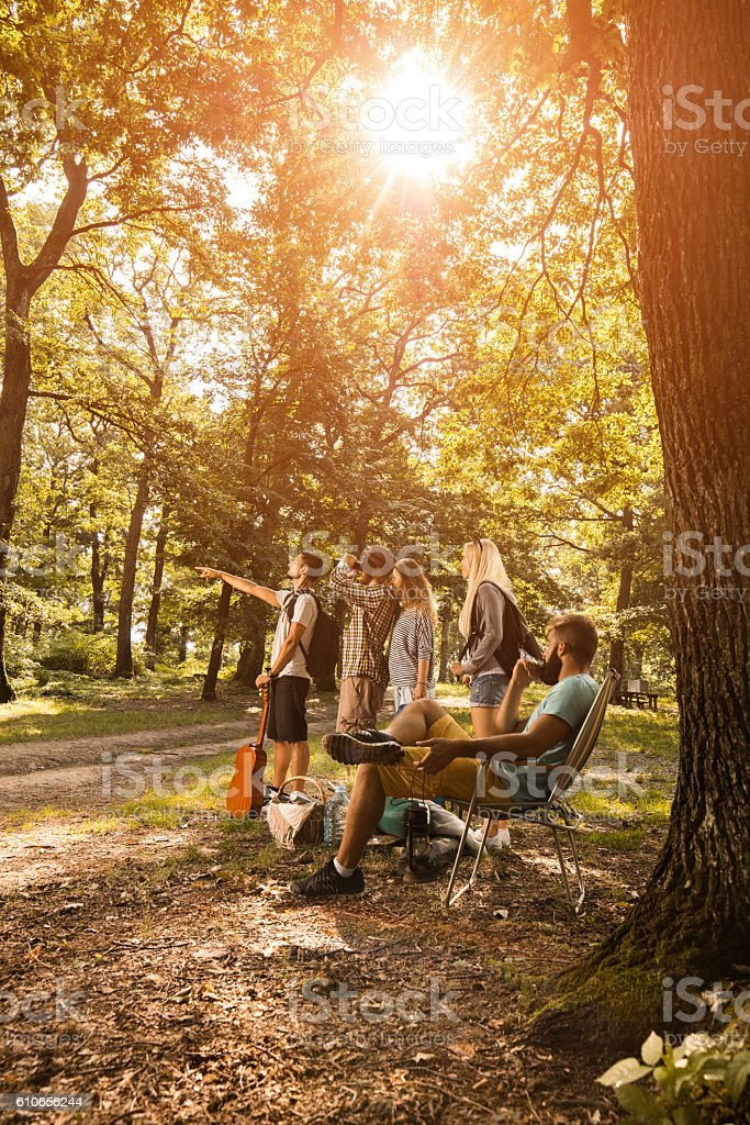 Searching for perfect place for camping! stock photo
