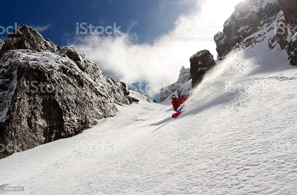 Searching for spring powder snow stock photo