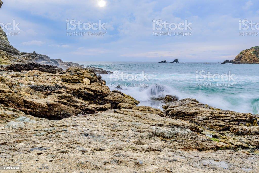 Searching for Sun in Laguna Beach stock photo