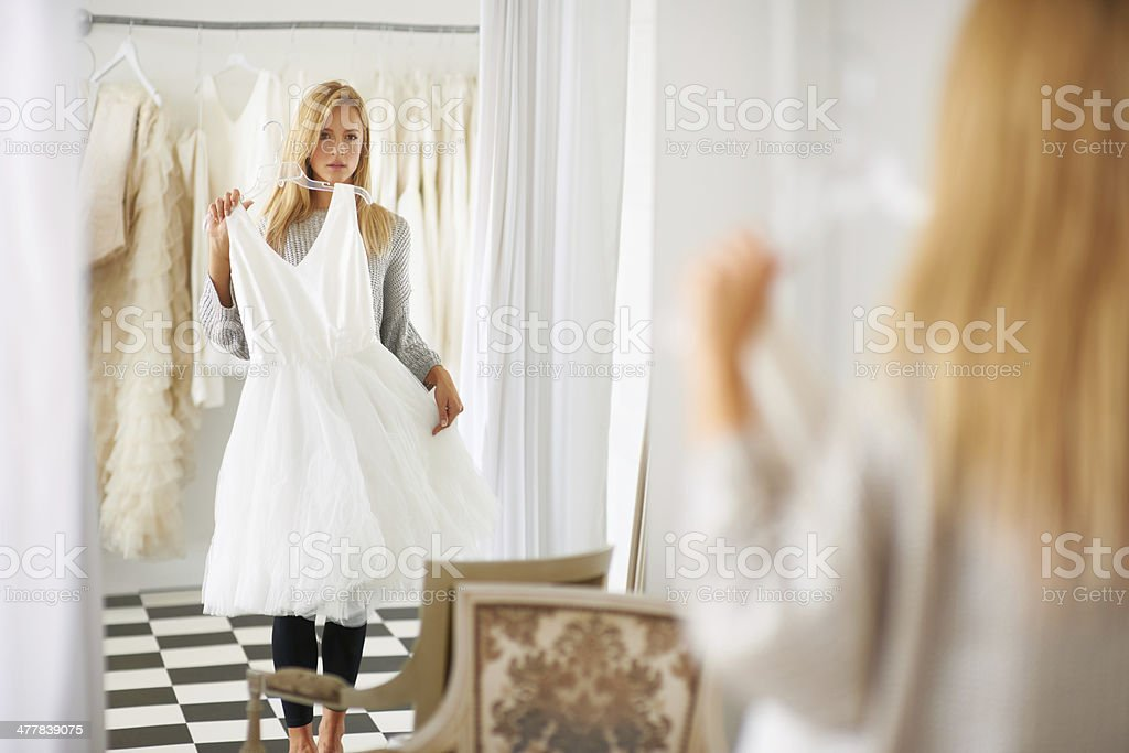 Searching for that special dress stock photo