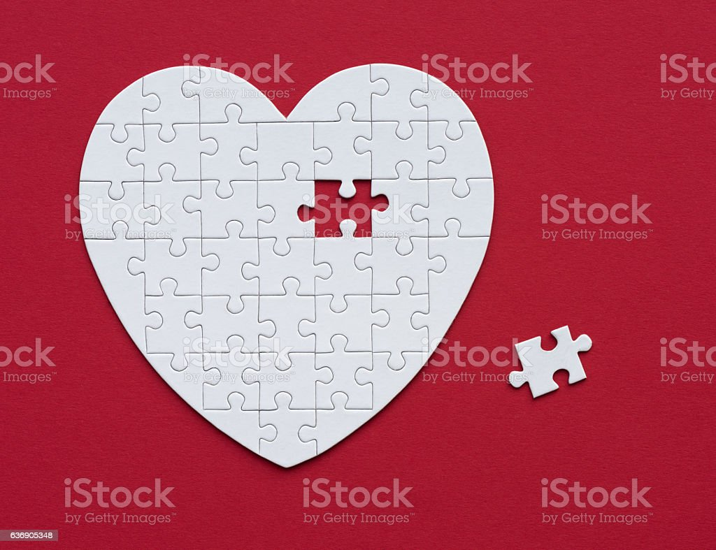 Searching for the missing Piece, Love, Heart, Puzzle, Relationship stock photo